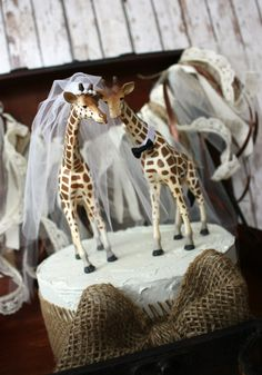 Giraffe-woodlands-wedding cake topper-giraffe-wedding-just married-bride and groom-cake topper-custom-jungle-zoo-safari