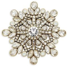 Heidi Daus Snowflake Crystal Pin (4.235 RUB) ❤ liked on Polyvore featuring jewelry, brooches, pin, crystal stone jewelry, snowflake jewelry, pin jewelry, facet jewelry and crystal brooch