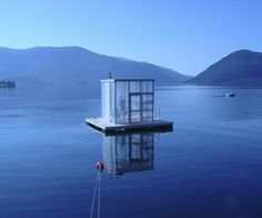 floating, water, mountains, sauna, blue, glass, remote, away