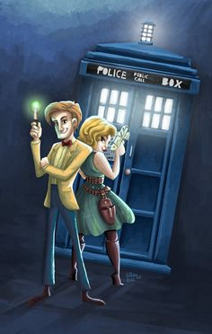 Some fun art of the Doctor and River out on an adventure :)