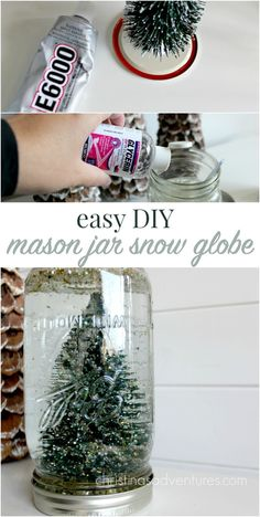 This easy DIY snow globe is made out of a few simple materials. A great gift idea or easy kid's craft!