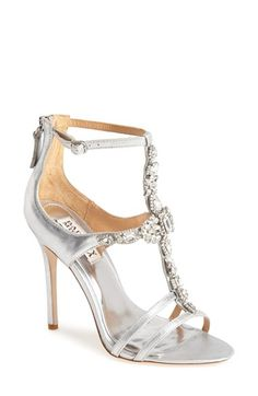 Badgley Mischka 'Giovanna II' Satin Ankle Strap Sandal possible wedding shoes in the ivory color (Women) available at #Nordstrom