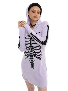 No body should be without this // Purple Black Rib Cage Girls Sweater