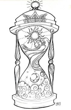 Hourglass small art print day in the night, night in the day. Tijd i . - Hourglass small art print Day in the night, night in the day. Tijd is relieved. I think - Adult Coloring Book Pages, Printable Adult Coloring Pages, Coloring Books, Colouring, Mandala Coloring, Datum Tattoo, Hourglass Tattoo, Hourglass Drawing, Geometric Tatto