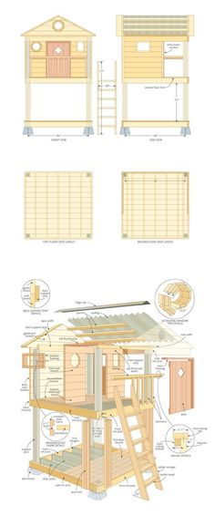 31 Free DIY Playhouse Plans to Build for Your Kids' Secret Hideaway Learn how to build a playhouse for your kids. This is a collection of 31 free DIY playhouse plans with PDFs, videos, and. Kids Playhouse Plans, Backyard Playhouse, Build A Playhouse, Childrens Playhouse, Outdoor Playhouses, Playhouse Windows, Outside Playhouse, Playhouse Kits, Backyard Kids