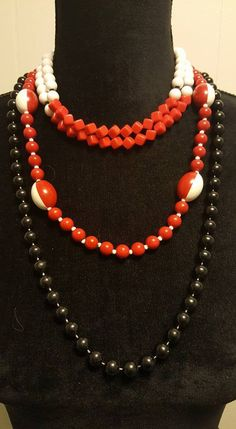 Bead NECKLACE Lot ~ Set of 3 ~ Red, White & Black ~ Fashion Accessories ~ Layers #Bead