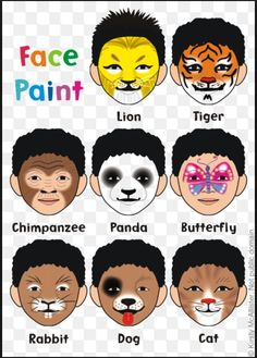 A few cute animal face paint designs