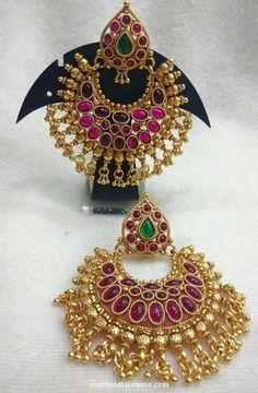 One Gram Gold Ruby Chandbalis, One Gram Gold Earrings, 1 Gram Gold Earrings