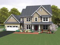 Colonial Home Plan with 2690 Square Feet and 4 Bedrooms from Dream Home Source | House Plan Code DHSW077520