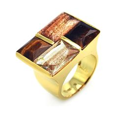 925 Sterling Silver Ladies Jewelry Square Synthetic Stones Gold Plated Ring: Size: 5