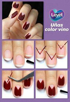 Uñas color vino para lucir tus manos. Nail Nail, Diy Nails, Nail Ideas, Nailart, Lipstick, Outfits, Beauty, Pintura, Pretty Nails