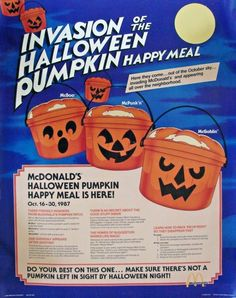 """Invasion Of The Halloween Pumpkin Happy Meal"" - McDonald's Happy Meal ad : vintageads"