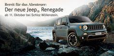 Für Abenteuerlustige: Der neue Jeep® Renegade – ab 11. Oktober bei Schloz Wöllenstein! http://www.swmb.de/pkw/jeep/der-neue-jeep-r-renegade.html