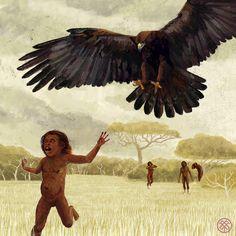 Haast's Eagle (Harpagornis moorei) - Extinct by Elizaveta Shchepina. Prehistoric Wildlife, Prehistoric World, Prehistoric Creatures, Wildlife Art, Panthera Leo Spelaea, Early Humans, Extinct Animals, Dinosaur Art, Mammals