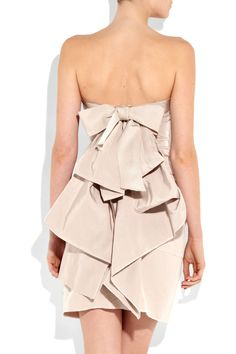 A signature feminine Lanvin look. Bow-back cotton and silk-blend strapless dress