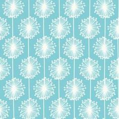 Fun Accent Fabric For Throw Pillows My Minds Eye - Andrea Victoria - Wishing Flowers in Aqua - Throw Pillows
