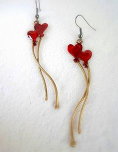 Handmade earrings red baloon hearts hand painted by violettstyle, €17.38