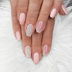 43 Pretty Nail Art Designs for Short Acrylic Nails Nude Nails with Glitter Glam Nails, Pink Nails, Beauty Nails, Art Nails, Best Acrylic Nails, Acrylic Nail Designs, Nail Art Designs, Nails Design, Elegant Nail Designs