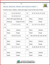 Mean, Median, Mode and Range -- Sorted Sets (Sets of 5 from 1 to ...