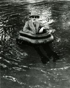 """""""Zissou in his tire boat"""", Chateau du Rouzat, 1911. Photo by Jacques-Henri Lartigue. °"""