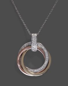 Diamond Circle Pendant Necklace in 14K White, Yellow and Rose Gold, .20 ct. t.w., 18"