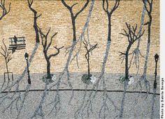 Kate Kerrigan, February Morning, Paris 2008 x Italian marble, gold smalti Two very fine mosaic artists had gallery openings last week in the San Francisco Bay Area. Wood Mosaic, Mosaic Wall Art, Marble Mosaic, Mosaic Tiles, Photography Institute, Stained Glass Designs, Italian Marble, San Francisco Bay, Tree Art