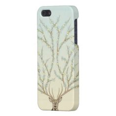 Cute and Elegant Iphone 5 Case for Girls with a  Deer Illustration (big antlers with flowers) / Gifts for Deer Hunters / Gifts for Deer Lovers