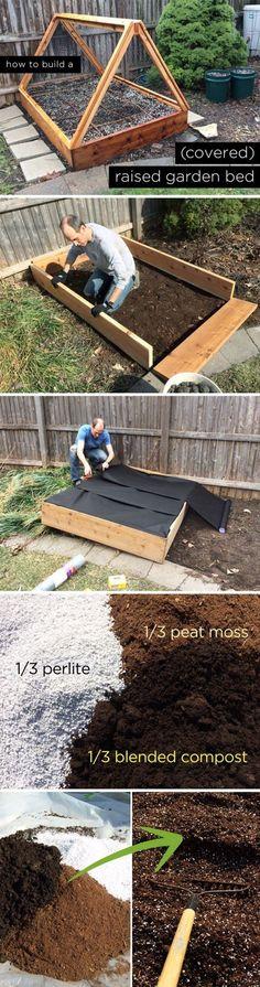 DIY Covered Raised Garden Bed. Hmmm....ada lokasi di loteng niiih yg kayanya bisa dimanfaatin lagi