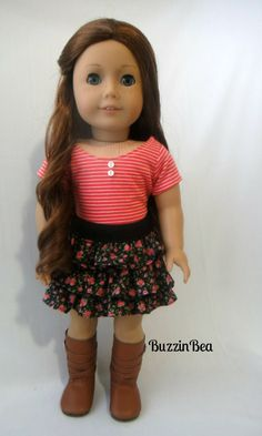 Striped Coral Top and Floral Ruffled Skirt by BuzzinBea on Etsy   $26.00