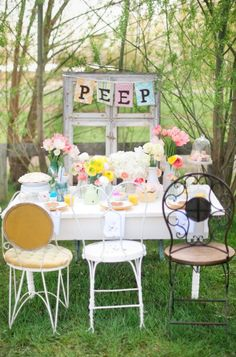 Whimsical and fun Easter decorations.