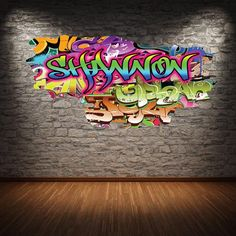 Personalized / Customized Name Graffiti Wall Decals Stickers Brick Concrete Cracked Hole Printed Mural Colour Adhesive Childrens Wall Decals, 3d Wall Decals, Removable Wall Stickers, Framed Wall Art, Wall Murals, Personalized Wall Decals, Graffiti Designs, Kids Play Area, Graffiti Wall