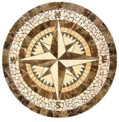 "Compass Rose - Mosaic Tile Medallion - 34""diameter"