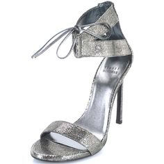 New Stuart Weitzman Tynela Ankle Strap Sandals Silver Sz 6 36 Tie Up... (€225) ❤ liked on Polyvore featuring shoes, sandals, silver metallic sandals, stuart weitzman sandals, ankle strap sandals, ankle tie sandals and ankle wrap shoes