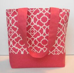 Modern Summer Quatrefoil Coral Tote by WrapItUpByG on Etsy, $29.00