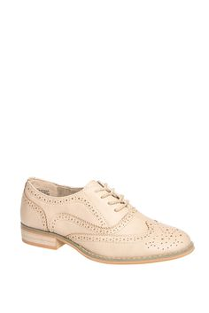 """Wanted Womens Babe Rose Gold 8 M. Wanted """"Babe"""" synthetic lace-up oxfords feature: wing tip detail, scalloped edges and two-tone solid patent uppers. Heel Height Measures: 1.00"""". These women's """"Wanted"""" oxfords are a perfect shoe for a multi-seasonal vibe that flatters every woman. Pair these oxfords up with jeans for a more casual look, dress pants for a smart casual look or if you're looking for a flirty and girly look, put on a skater skirt or flowy dress. Wanted Shoes' mission is to…"""