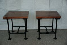Industrial Steampunk End Table Set With Pipe Legs