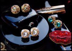 Swarovski crystals beaded stud earrings