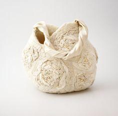 Bridal purse nuno felt Beige flower handbag by Eidrasa on Etsy, $117.00