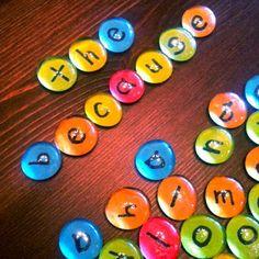 """DIY """"dew drops"""" for word work...dollar tree vase filler gems, scrapbook paper, and glue!"""