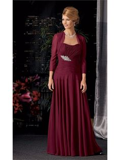 Long Burgundy Chiffon Mother of  The Bride Dresses with A Jacket 99503030