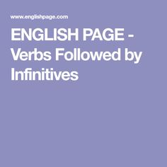 ENGLISH PAGE - Verbs Followed by Infinitives Sentences, English, Frases, English Language