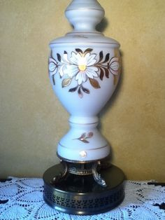 Vintage West Germany Hand Blown Satin Glass Table Lamp Brass Base