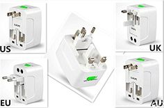 GC  Universal All In One World Wide Power Adapter Wall Charger Socket Travel Plug Converter US EU UK AUUS FASTPER >>> Details can be found by clicking on the image.