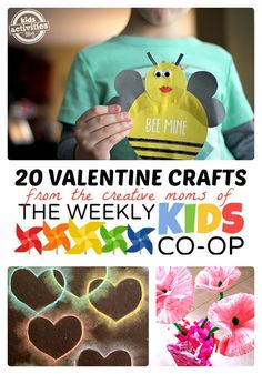 20 Valentine Crafts for Kids from The Weekly Kids Co-Op - B-Inspired Mama