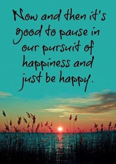 Now and then it's good to pause in our pursuit of happiness and just be happy!