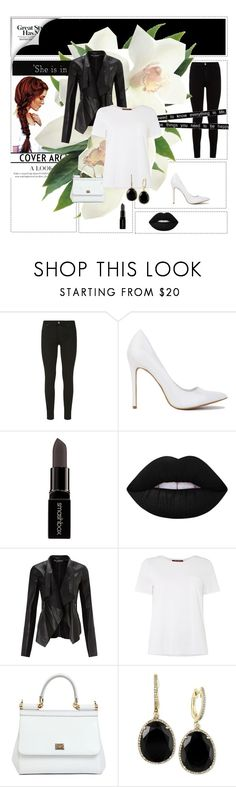"""""""**Black and white**"""" by deni1977 ❤ liked on Polyvore featuring 7 For All Mankind, Smashbox, Lime Crime, Miss Selfridge, MaxMara, Dolce&Gabbana, Effy Jewelry and Friend of Mine"""