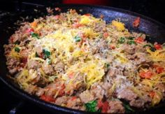 A delicious alternative to a pasta dinner. Roasted Spaghetti Squash with Grass-fed Ground Beef, Spinach, Diced Tomatoes.