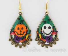 Goth Pagan Skull Pumpkin Dangle Flower Halloween by DeidreDreams, $58.00