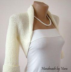 Ivory Wedding Bolero, Jacket, Bridal Sweater, Shrug, Bolero in vintage 50s style, Winter Wedding. $70.00, via Etsy.