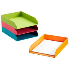 Colorful, inexpensive letter trays are great for organizing homework and other school papers. (The Container Store)